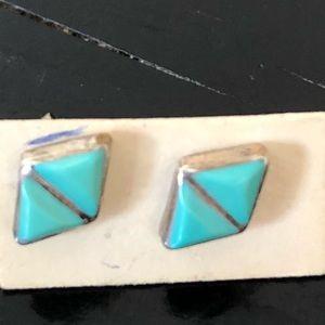 Turquoise stud earrings sterling silver petite